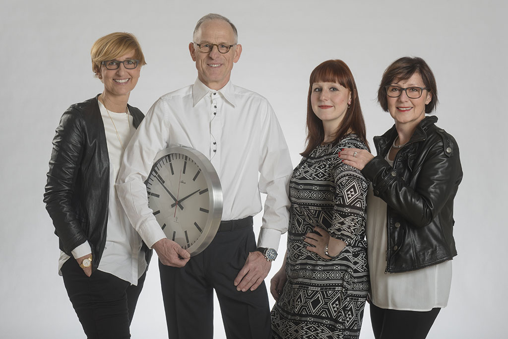 Familienunternehmen Uhren Thurner mit Elke Will, Hagen Thurner, Kristin Weitzel und Andrea Thurner; Foto: Uhren Thurner